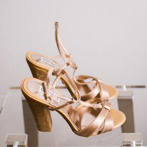 Badgley Mischka Copper Glitter Satin Block Heels 7